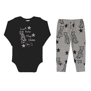 Conjunto Body longo e calça - Estrela - UP BABY