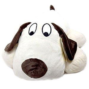 Pelúcia Cachorro Branco Deitado - 40 cm