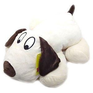 Pelúcia Cachorro Branco Deitado - 55 cm