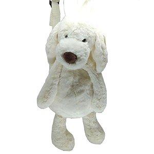 Mochila cachorro de Pelúcia Branco (35cm) – Fofy Toys