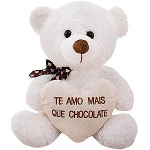 Urso Branco Com Coração Te Amo Mais Que Chocolate - 31cm
