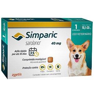 Simparic Antipulgas e Carrapatos 40 mg - Cães de 10,1 a 20 Kg - Caixa com 1 Comprimido