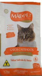 Ração Mãe Pet Gatos Castrados - Salmão e Arroz 12 kg