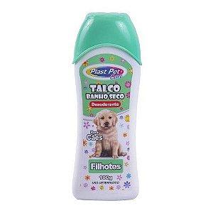 Talco Banho Seco Desodorante Para Cães Filhotes 100g - Plast Pet