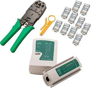 Alicate Crimpar Rj45/12/11+testador Rj45/11+decapador+10rj Brinde