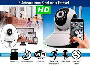 Camera Ip Sem Fio Hd 720p 1.3 Mp Wi-fi Noturna Gira 360 Graus - Frete Grátis
