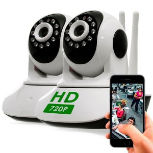 Camera Ip Sem Fio Hd 720p 1.3 Mp Wi-fi Noturna Gira 360 Graus 2X