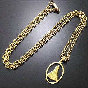 Corrente Cartier Banhada a Ouro 18K + Pingente Nossa Senhora Banhado a Ouro 18K