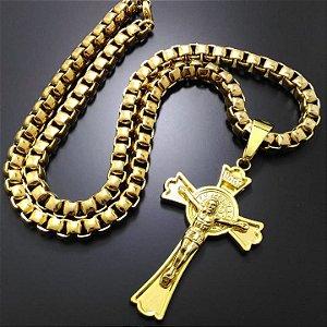 Corrente Elo Trançado Banhado a Ouro 18K + Pingente Cruz Cristo Inri Banhado a Ouro 18K