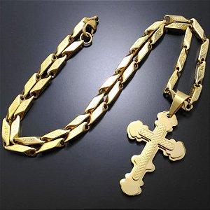 Corrente Elo Retangular Jesus 55cm 4mm Banhado a Ouro 18k + Pingente Cruz Banhado a Ouro 18K