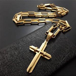 Corrente Tijolinho 70cm 5mm Banhado a Ouro 18K + Pingente Cruz Banhado a Ouro 18K