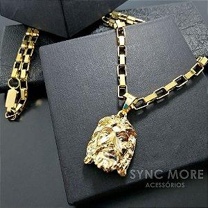 Corrente Tijolinho 60cm 4mm Banhada a Ouro 18K + Pingente Face de Cristo 3D
