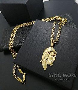 Corrente Cadeado 70cm 5mm Banhada a Ouro 18K + Pingente Cristo Perfil