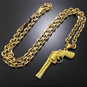 Corrente Cartier 70cm 7mm Banhada a Ouro 18K + Pistola Magnum