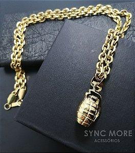 Corrente Cadeado 70cm 4mm Banhada a Ouro 18K + Pingente Granada