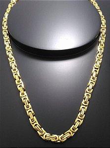 Corrente Elo Bizantino 55cm 6mm Banhado a Ouro 18K