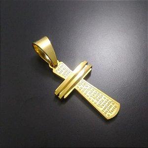 Pingente Cruz Pai Nosso Banhado a Ouro 18K