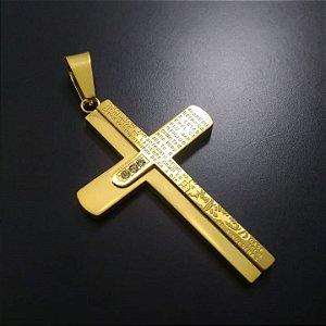 Pingente Cruz Pai Nosso Com Pedras Banhado a Ouro 18K