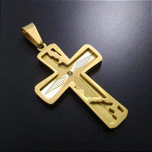 Pingente Cruz com Pedra Centro Banhado a Ouro 18K