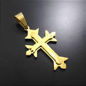 Pingente Cruz Sobreposta Lisa Banhado a Ouro 18K