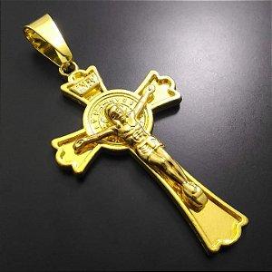 Pingente Cruz Inri Banhada a Ouro 18K