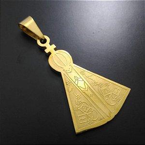 Pingente Nossa Senhora Aparecida Banhado a Ouro 18K