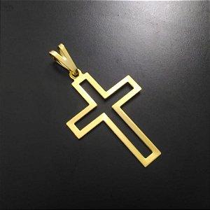 Pingente Cruz Vazada Pequena Banhada a Ouro 18K