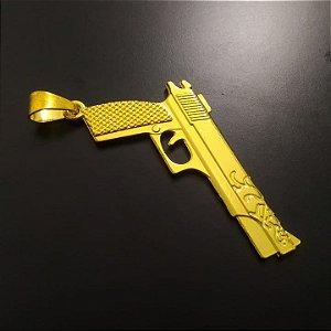 Pingente Pistola 380 Banhado a Ouro 18K