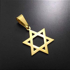 Pingente Estrela de Davi Banhado a Ouro 18K