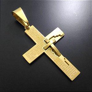 Pingente Cruz Pai Nosso com Cruz Banhado a Ouro 18K