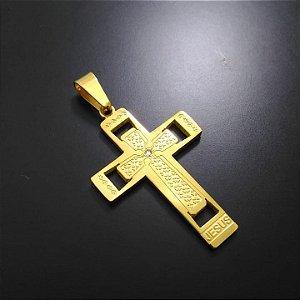 Pingente Cruz Jesus Com Brilho no Centro Banhado a Ouro 18K