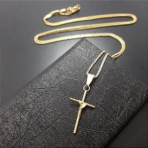 Corrente Veneziana 70cm 2mm Banhada a Ouro 18K + Pingente Cruz Manto Fina