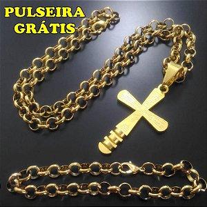 Corrente Elo Portugues 60cm 7mm Banhado a Ouro 18K + Pingente Cruz Pai Nosso - Pulseira Grátis