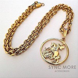 Corrente Cartier Cadeado 70cm 5mm Banhada a Ouro 18K + Pingente São Jorge