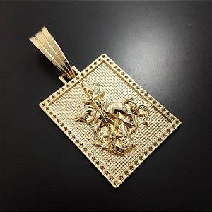 Pingente  Placa São Jorge Banhado a Ouro 18K