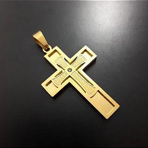 Pingente Cruz Com Pedra Central Banhado a Ouro 18K