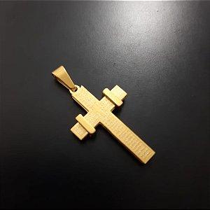 Pingente P Cruz Pai Nosso  Banhado a Ouro 18K