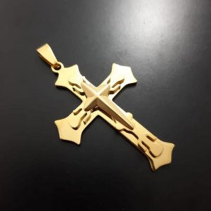 Pingente Cruz Sobreposto 3 Camadas Banhado a Ouro 18K