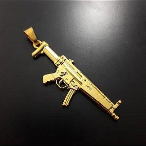 Pingente Metralhadora MP5 Banhada a Ouro 18K