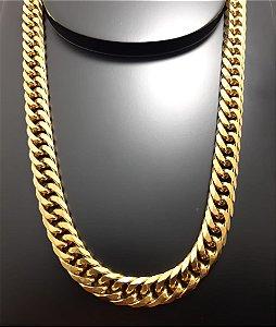 Corrente Groumet Duplo 70cm 11mm Banhada a Ouro 18K