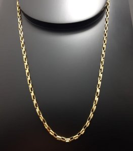 Corrente Tijolinho 70cm 3mm Banhada a Ouro 18K