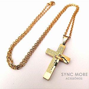 Corrente Cadeado 2mm Banhada a Ouro 18K + Pingente Cruz pai Nosso com cruz