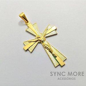 Pingente Cruz Jesus Cristo Banhada a Ouro 18K