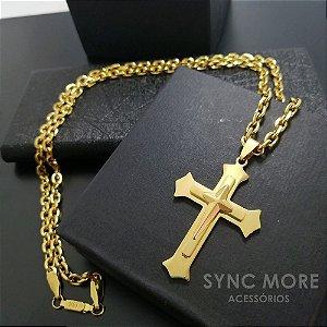 Corrente Cadeado 70cm 5mm Banhada a Ouro 18K + Pingente Cruz Sobreposta