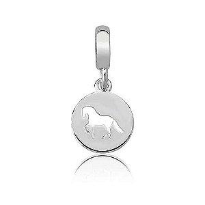 Berloque de Prata Medalha Cavalo Vazado