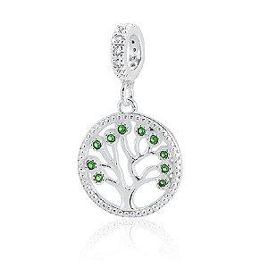 Berloque de Prata Pingente Árvore da Vida Zircônia Verde