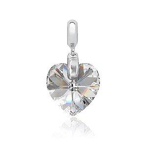 Berloque de Prata Pingente Coração Cristal Swarovski Vitral