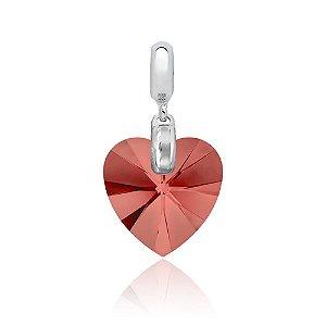 Berloque de Prata Pingente Coração Cristal Swarovski Coral