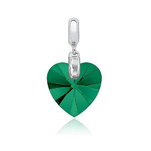 Berloque de Prata Pingente Coração Cristal Swarovski Verde Esmeralda