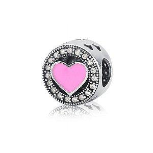 Berloque de Prata Separador Coração Rosa